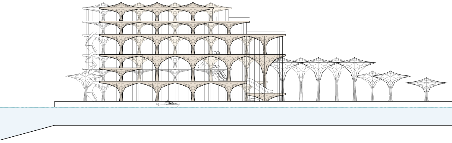 Elevation of the conference building with the umbrella's as the main structure.