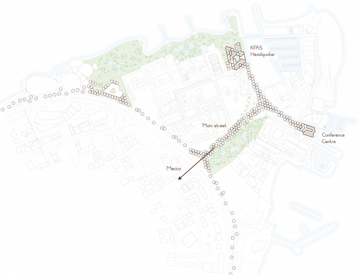 Urban plan containing the HQ, the conference centre and the main street directed to Mecca.